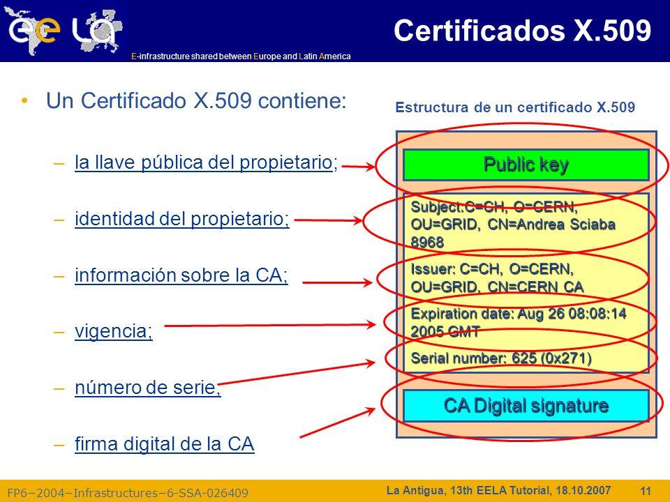 E-infrastructure shared between Europe and Latin America FP62004Infrastructures6-SSA-026409 11 La Antigua, 13th EELA Tutorial, 18.10.2007 Un Certifica