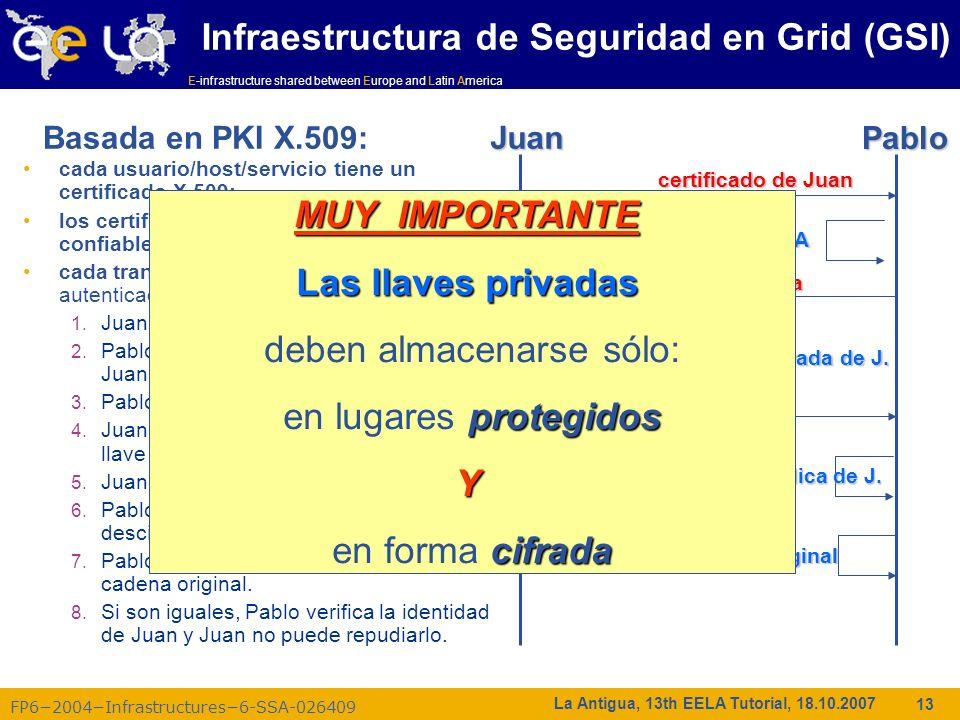 E-infrastructure shared between Europe and Latin America FP62004Infrastructures6-SSA-026409 13 La Antigua, 13th EELA Tutorial, 18.10.2007 cada usuario