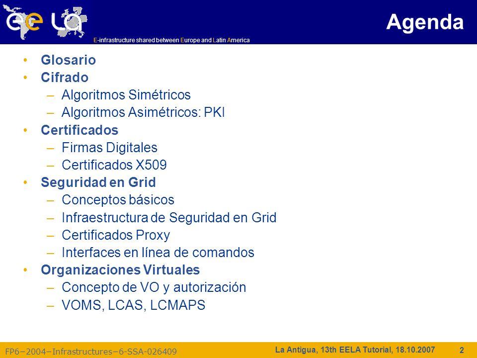 E-infrastructure shared between Europe and Latin America FP62004Infrastructures6-SSA-026409 13 La Antigua, 13th EELA Tutorial, 18.10.2007 cada usuario/host/servicio tiene un certificado X.509; los certificados son firmados por CAs confiables (para los sitios locales); cada transacción de Grid es mutuamente autenticada: 1.