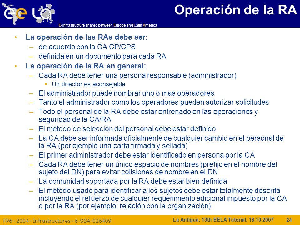 E-infrastructure shared between Europe and Latin America FP62004Infrastructures6-SSA-026409 24 La Antigua, 13th EELA Tutorial, 18.10.2007 Operación de