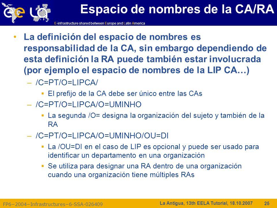 E-infrastructure shared between Europe and Latin America FP62004Infrastructures6-SSA-026409 25 La Antigua, 13th EELA Tutorial, 18.10.2007 Espacio de n