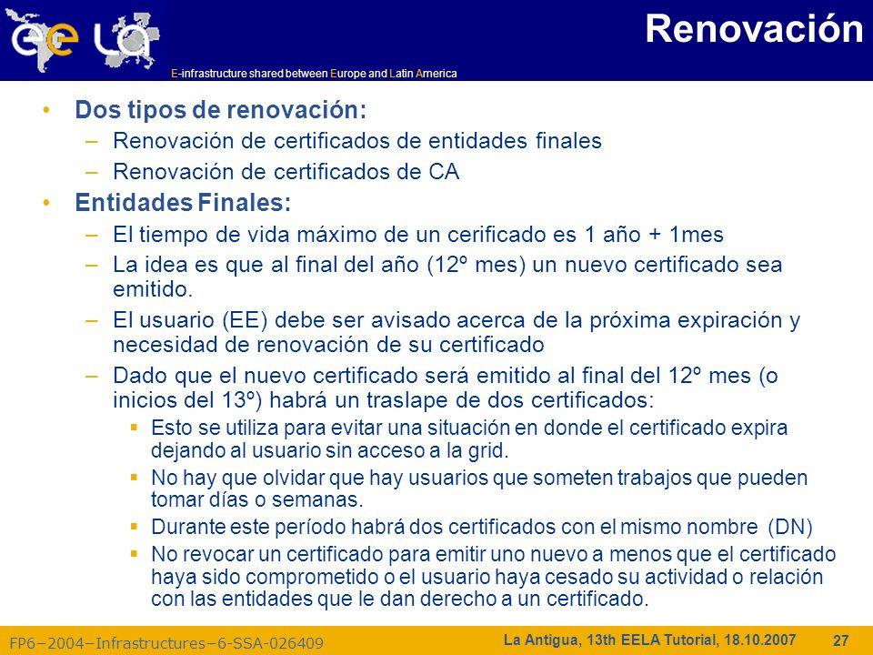 E-infrastructure shared between Europe and Latin America FP62004Infrastructures6-SSA-026409 27 La Antigua, 13th EELA Tutorial, 18.10.2007 Renovación D
