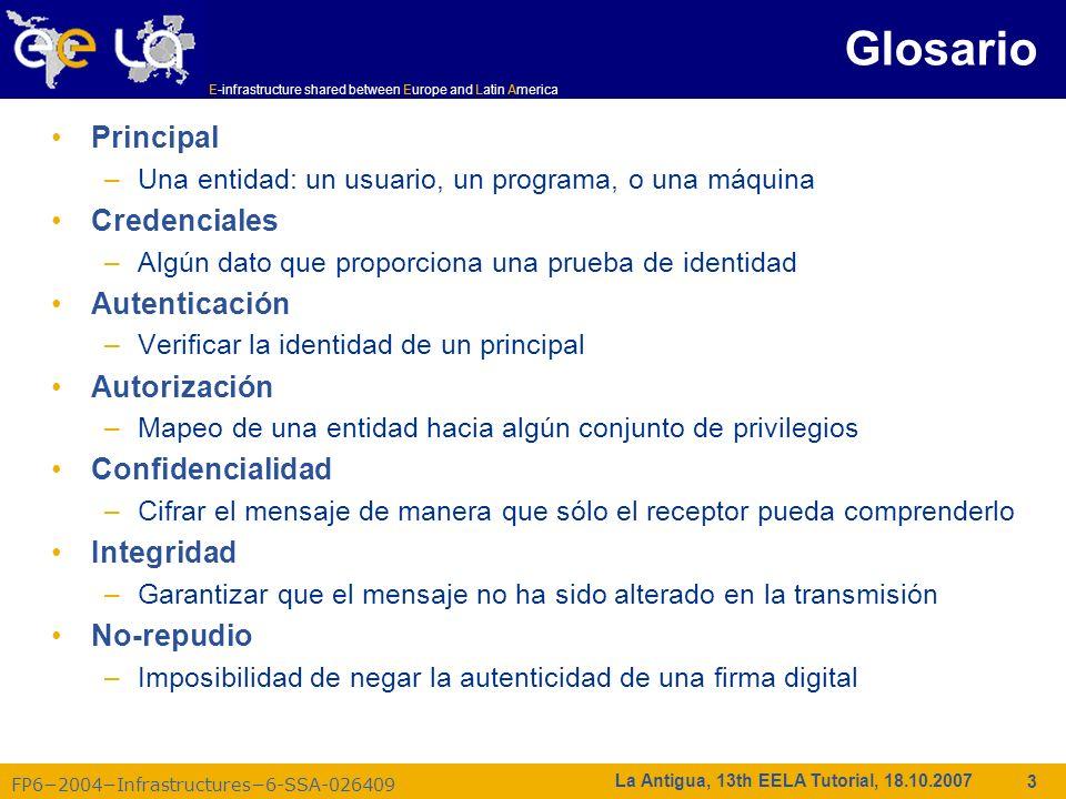 E-infrastructure shared between Europe and Latin America FP62004Infrastructures6-SSA-026409 44 La Antigua, 13th EELA Tutorial, 18.10.2007 EELA VOMS (https://voms.lip.pt:8443/voms/EELA/) Nuevos registros ent: https://voms.lip.pt:8443/voms/EELA/webui/request/user/createhttps://voms.lip.pt:8443/voms/EELA/webui/request/user/create