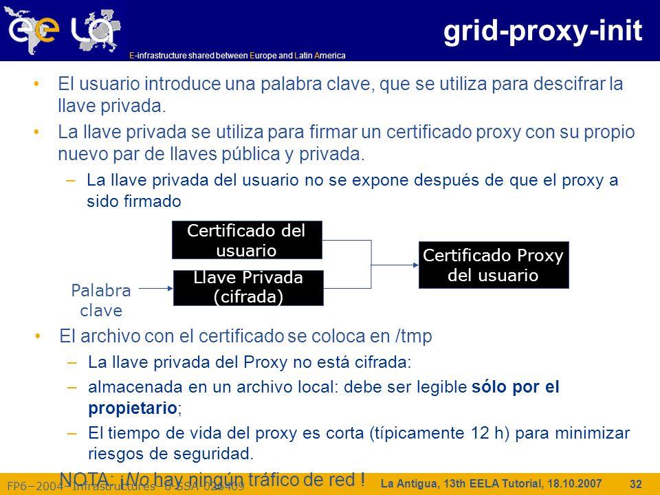 E-infrastructure shared between Europe and Latin America FP62004Infrastructures6-SSA-026409 32 La Antigua, 13th EELA Tutorial, 18.10.2007 El usuario i