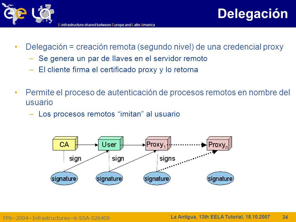 E-infrastructure shared between Europe and Latin America FP62004Infrastructures6-SSA-026409 34 La Antigua, 13th EELA Tutorial, 18.10.2007 Delegación =