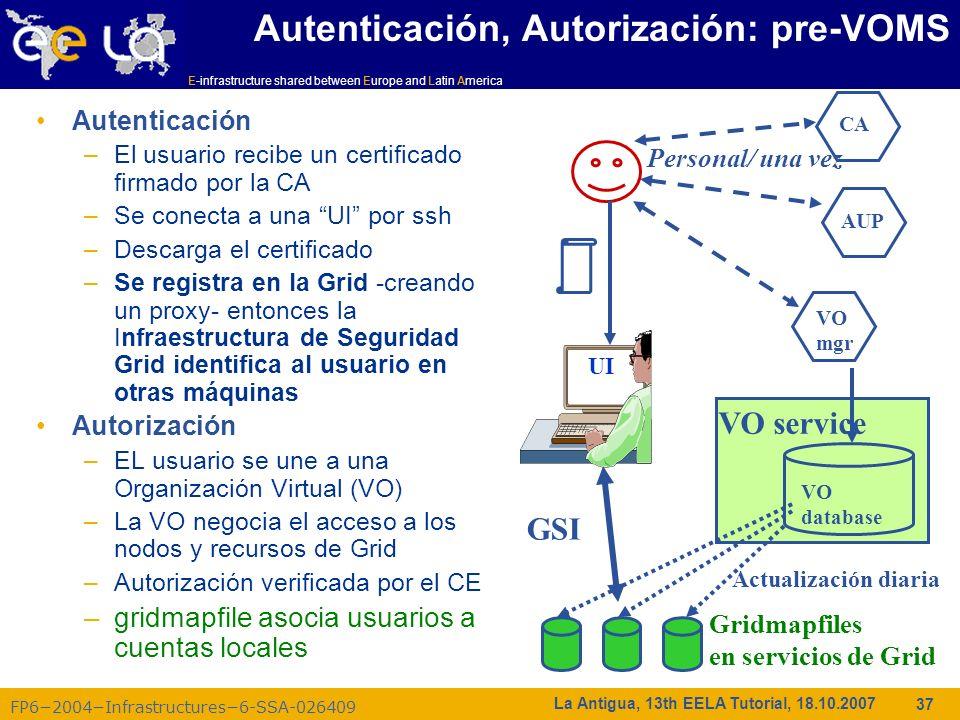 E-infrastructure shared between Europe and Latin America FP62004Infrastructures6-SSA-026409 37 La Antigua, 13th EELA Tutorial, 18.10.2007 Autenticació