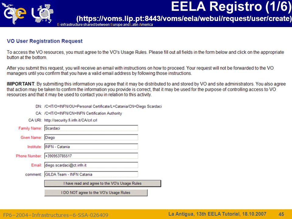 E-infrastructure shared between Europe and Latin America FP62004Infrastructures6-SSA-026409 45 La Antigua, 13th EELA Tutorial, 18.10.2007 EELA Registr