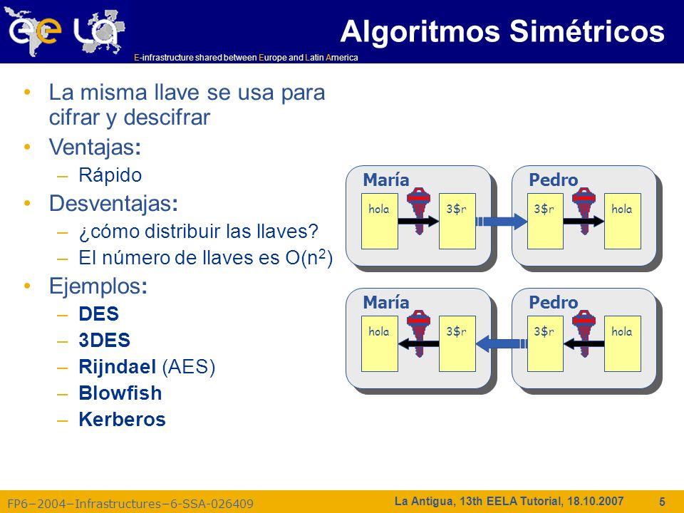 E-infrastructure shared between Europe and Latin America FP62004Infrastructures6-SSA-026409 26 La Antigua, 13th EELA Tutorial, 18.10.2007 Espacio de nombres de la CA/RA Acerca del CN y el DN completo: –/C=PT/O=LIPCA/O=UMINHO/OU=DI/CN=Jose A Sousa cada DN debe ser único: Lo suficientemente largo para evitar colisiones Agregar algo (número,...