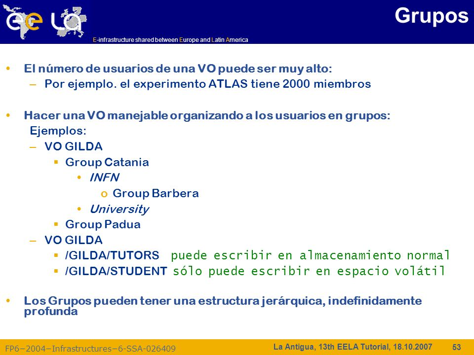 E-infrastructure shared between Europe and Latin America FP62004Infrastructures6-SSA-026409 53 La Antigua, 13th EELA Tutorial, 18.10.2007 Grupos El nú