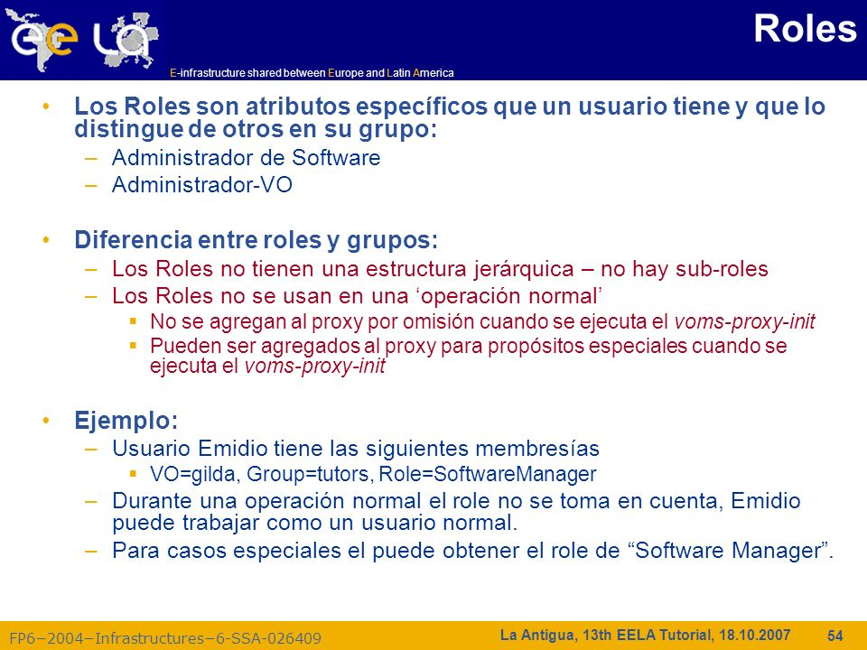 E-infrastructure shared between Europe and Latin America FP62004Infrastructures6-SSA-026409 54 La Antigua, 13th EELA Tutorial, 18.10.2007 Roles Los Ro