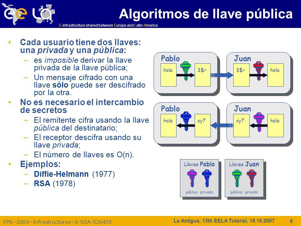 E-infrastructure shared between Europe and Latin America FP62004Infrastructures6-SSA-026409 37 La Antigua, 13th EELA Tutorial, 18.10.2007 Autenticación, Autorización: pre-VOMS Autenticación –El usuario recibe un certificado firmado por la CA –Se conecta a una UI por ssh –Descarga el certificado –Se registra en la Grid -creando un proxy- entonces la Infraestructura de Seguridad Grid identifica al usuario en otras máquinas Autorización –EL usuario se une a una Organización Virtual (VO) –La VO negocia el acceso a los nodos y recursos de Grid –Autorización verificada por el CE –gridmapfile asocia usuarios a cuentas locales UI AUP VO mgr Personal/ una vez VO database Gridmapfiles en servicios de Grid GSI VO service Actualización diaria CA