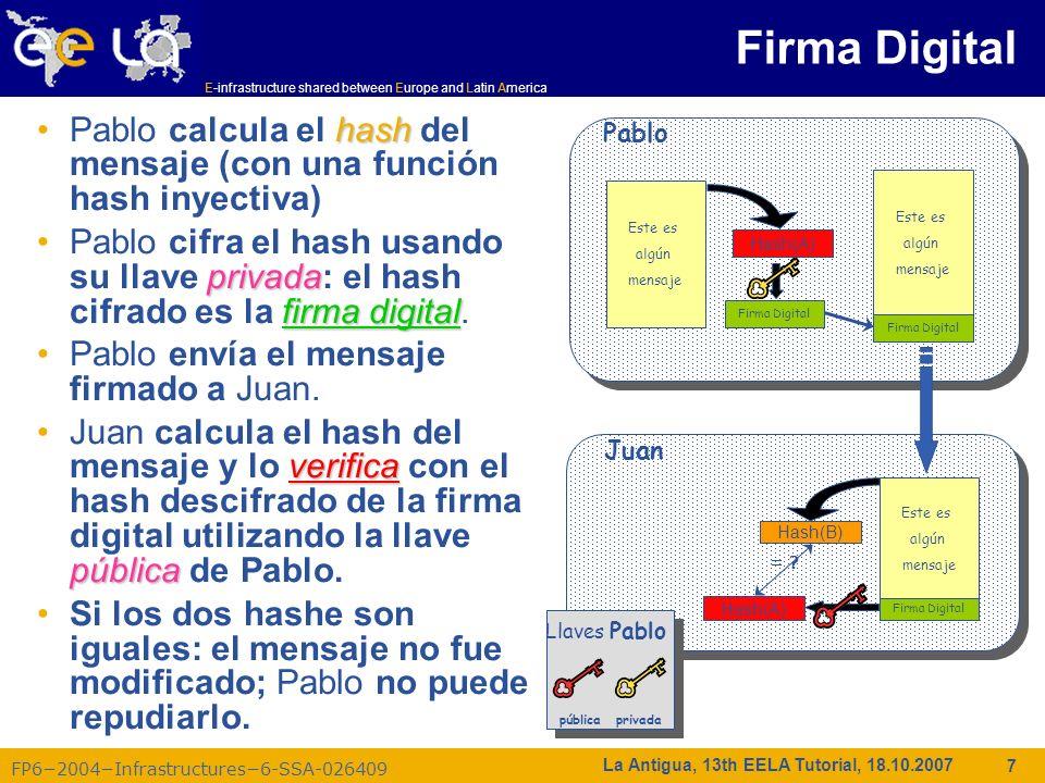 E-infrastructure shared between Europe and Latin America FP62004Infrastructures6-SSA-026409 38 La Antigua, 13th EELA Tutorial, 18.10.2007 Los usuarios de Grid DEBEN pertenecer a organizaciones virtuales –Lo que anteriormente se llamó grupos –Conjuntos de usuarios pertenecientes a un equipo de trabajo –El usuario debe firmar las reglas de uso de la VO –Esperar a ser registrado en el servidor de la VO (esperar notificación) Las VOs mantienen una lista de sus miembros en un servidor LDAP –La lista es descargada por máquinas de la grid para asociar sujetos de un certificado de usuario en un pool de cuentas locales.