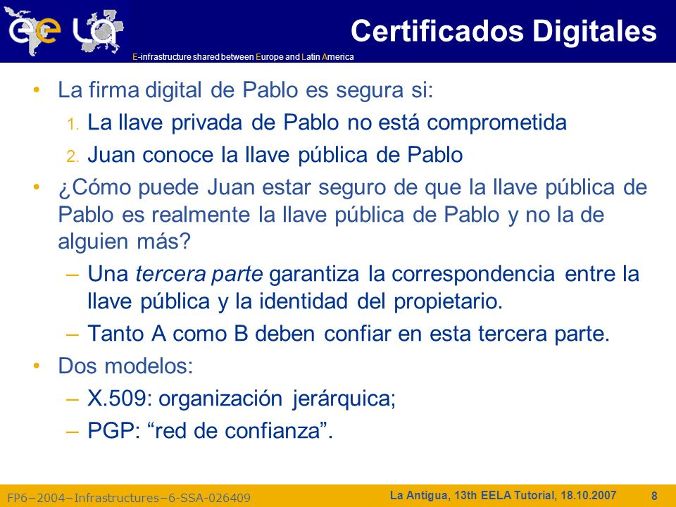 E-infrastructure shared between Europe and Latin America FP62004Infrastructures6-SSA-026409 9 La Antigua, 13th EELA Tutorial, 18.10.2007 PGP red de confianza A B C D E F F conoce D y E, quien conoce A y C, quien conoce A y B.