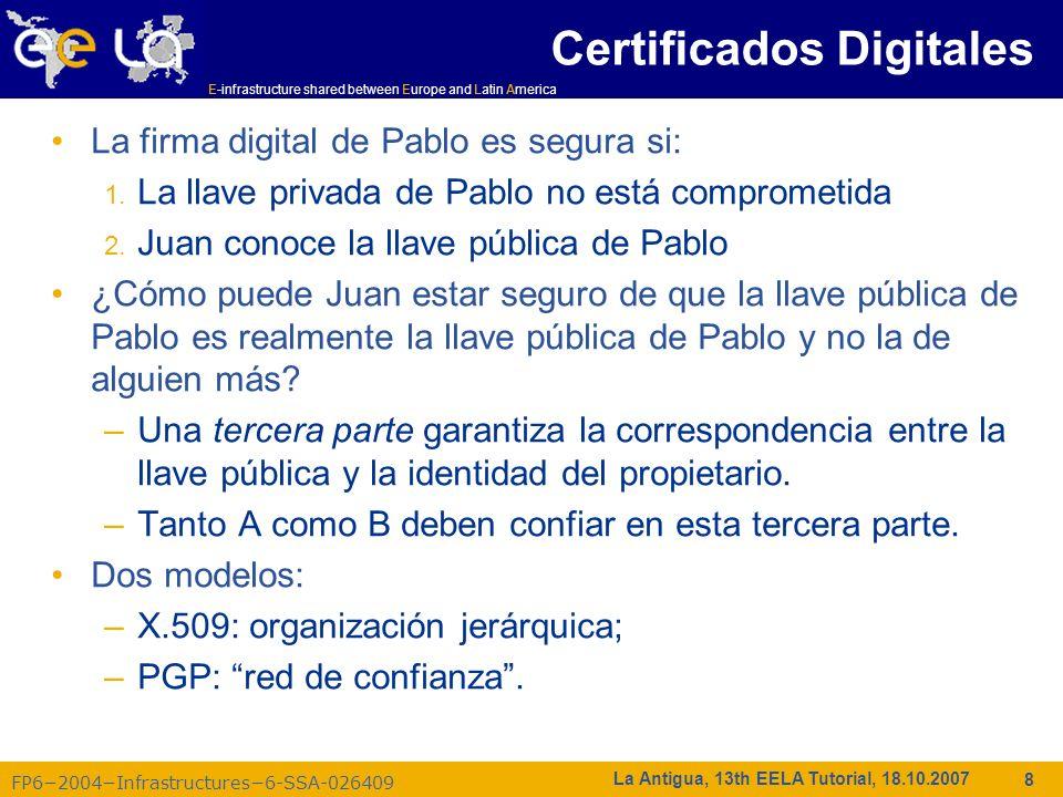E-infrastructure shared between Europe and Latin America FP62004Infrastructures6-SSA-026409 39 La Antigua, 13th EELA Tutorial, 18.10.2007 Evolución en la administración de VOs Antes VOMS El Usuario es autorizado como un miembro de una única VO Todos los miembros de una VO tienen los mismos permisos Los gridmapfiles son actualizados por el software de administración de la VO: asocia el DN del usuario a una cuenta local grid-proxy-init – crea un proxy de un certificado – el single sign-on a la grid VOMS Un Usuario puede estar en múltiples VOs –Permisos adicionales Una VO puede tener grupos –Permisos diferentes para cada Grupo de experimentos diferentes … –Grupos anidados VO tiene roles –Asignados a propósitos específicos p.e.