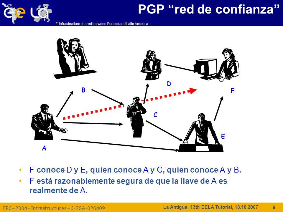 E-infrastructure shared between Europe and Latin America FP62004Infrastructures6-SSA-026409 30 La Antigua, 13th EELA Tutorial, 18.10.2007 Administración de Certificados Importar el certificado en el navegador –Si se recibe un certificado.pem es necesario convertirlo a PKCS12 –Usando el comando openssl (disponible en cada UI) openssl pkcs12 –export –in usercert.pem –inkey userkey.pem –out my_cert.p12 –name Mi Nombre GILDA (y otras VOs, entre ellas EELA): –Se recibe un certificado PKCS12 (que puede importarse directamente en el navegador web) –Para uso futuro, se necesitará un usercert.pem y un userkey.pem en el directorio ~/.globus de la UI –Copie el certificado PKCS12 a un directorio local de la UI y use de nuevo el comando openssl: openssl pkcs12 -nocerts -in my_cert.p12 -out userkey.pem openssl pkcs12 -clcerts -nokeys -in my_cert.p12 -out usercert.pem