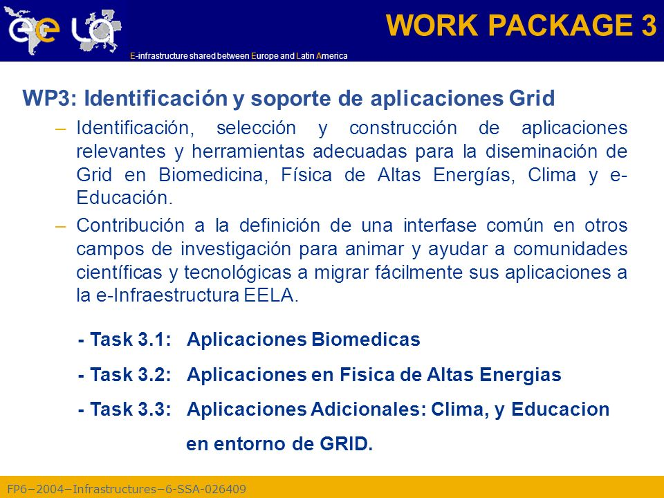 FP62004Infrastructures6-SSA-026409 E-infrastructure shared between Europe and Latin America WP3: Identificación y soporte de aplicaciones Grid –Identi