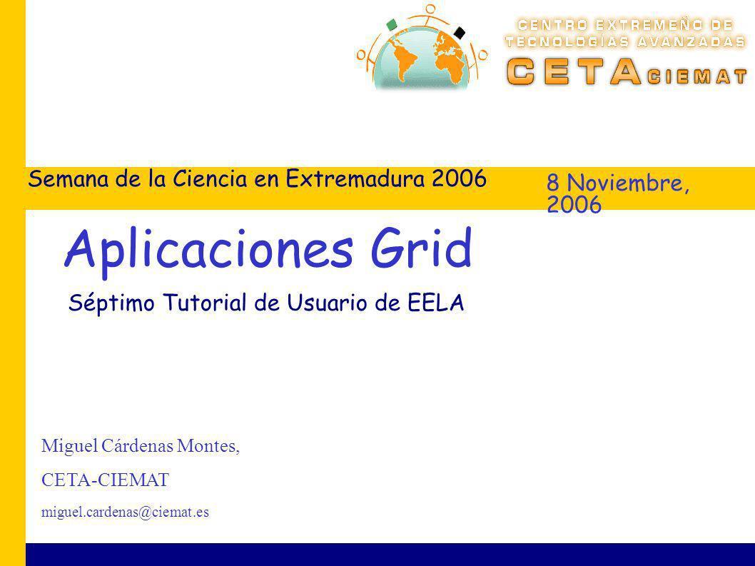 8 Noviembre, 2006 Semana de la Ciencia en Extremadura 2006 Miguel Cárdenas Montes, CETA-CIEMAT miguel.cardenas@ciemat.es Aplicaciones Grid Séptimo Tutorial de Usuario de EELA