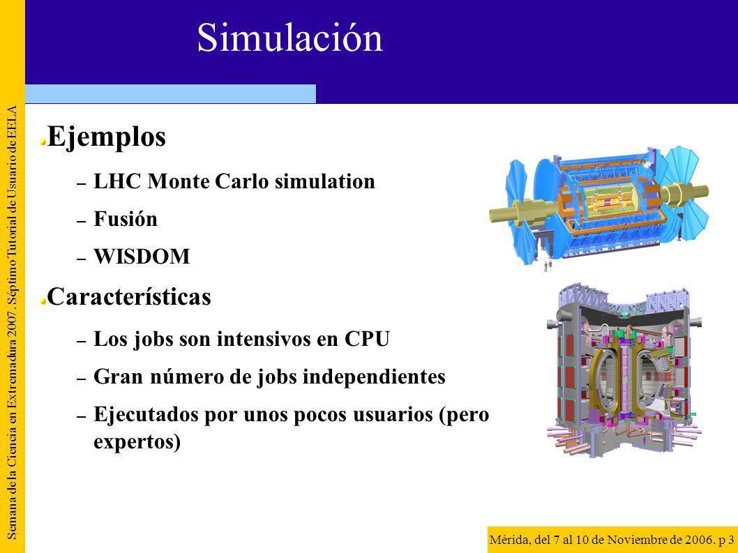 Simulación Ejemplos – LHC Monte Carlo simulation – Fusión – WISDOM Características – Los jobs son intensivos en CPU – Gran número de jobs independientes – Ejecutados por unos pocos usuarios (pero expertos) Semana de la Ciencia en Extremadura 2007.