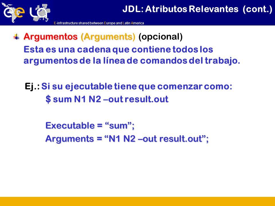 E-infrastructure shared between Europe and Latin America Argumentos (Arguments Argumentos (Arguments) (opcional) Esta es una cadena que contiene todos los argumentos de la línea de comandos del trabajo.