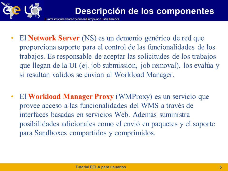 E-infrastructure shared between Europe and Latin America Tutorial EELA para usuarios 36 StorageIndex StorageIndex (Obligatorio si se han definido el InputData o el OutputData ) Representa la dirección URL del StorageIndex Service a contactar para resolver los nombres de los ficheros especificados en los atributos del InputData.