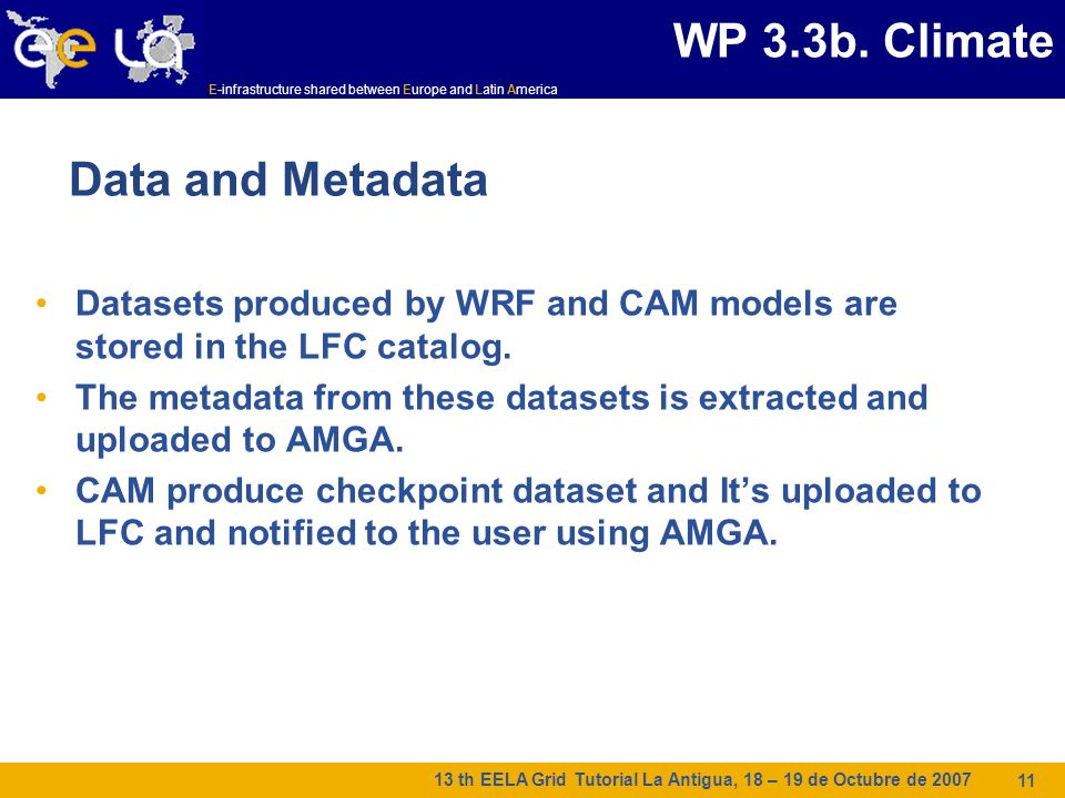 E-infrastructure shared between Europe and Latin America 13 th EELA Grid Tutorial La Antigua, 18 – 19 de Octubre de 2007 11 Data and Metadata Datasets