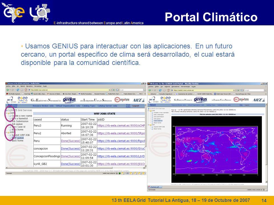 E-infrastructure shared between Europe and Latin America 13 th EELA Grid Tutorial La Antigua, 18 – 19 de Octubre de 2007 14 Portal Climático Usamos GENIUS para interactuar con las aplicaciones.