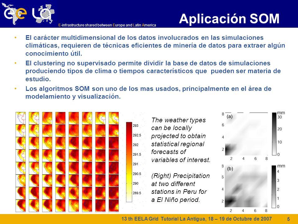 E-infrastructure shared between Europe and Latin America 13 th EELA Grid Tutorial La Antigua, 18 – 19 de Octubre de 2007 5 Aplicación SOM El carácter multidimensional de los datos involucrados en las simulaciones climáticas, requieren de técnicas eficientes de minería de datos para extraer algún conocimiento útil.