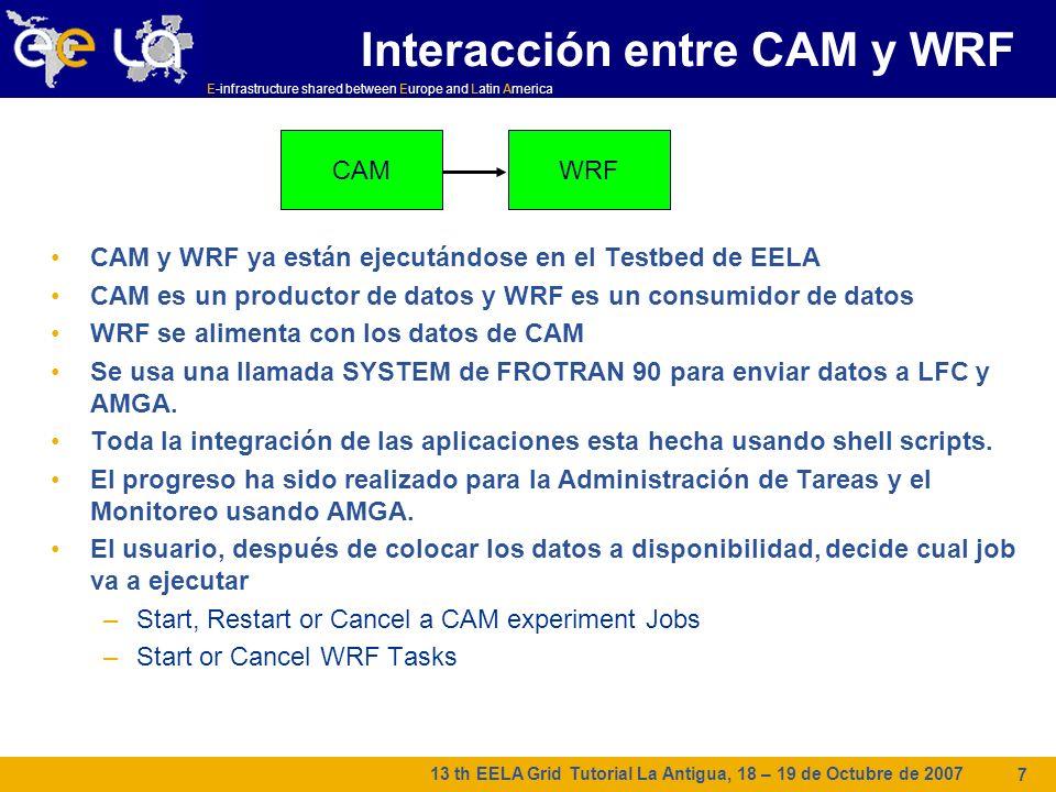 E-infrastructure shared between Europe and Latin America 13 th EELA Grid Tutorial La Antigua, 18 – 19 de Octubre de 2007 7 Interacción entre CAM y WRF CAM y WRF ya están ejecutándose en el Testbed de EELA CAM es un productor de datos y WRF es un consumidor de datos WRF se alimenta con los datos de CAM Se usa una llamada SYSTEM de FROTRAN 90 para enviar datos a LFC y AMGA.