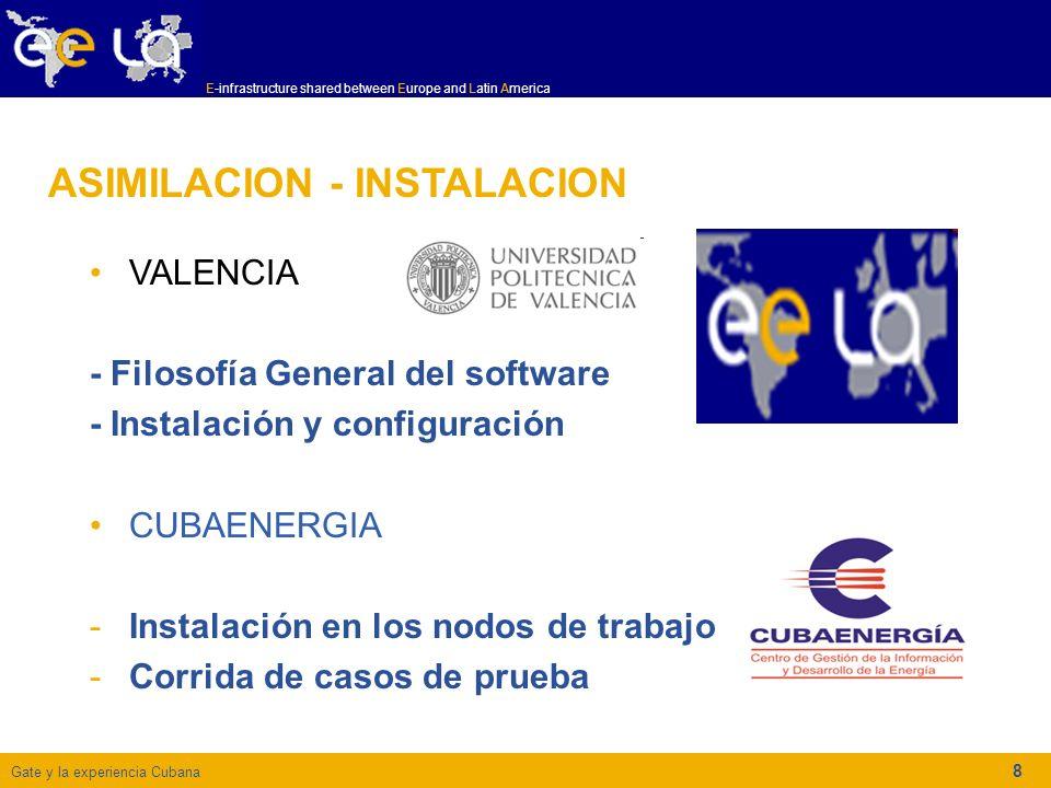 Gate y la experiencia Cubana E-infrastructure shared between Europe and Latin America 8 ASIMILACION - INSTALACION VALENCIA - Filosofía General del software - Instalación y configuración CUBAENERGIA -Instalación en los nodos de trabajo -Corrida de casos de prueba