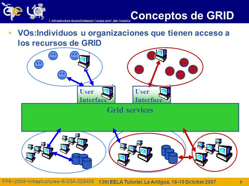 E-infrastructure shared between Europe and Latin America 13th EELA Tutorial, La Antigua, 18-19 October 2007 FP62004Infrastructures6-SSA-026409 7 Multi-VOs Usuarios se unen a VOs Una Organizacion Virtual ofrece recursos & negocia accessos El middleware de GRID se ejecuta en cada site –Storage elements –Compute elements Servicios adicionales (tanto usuarios y grid middleware) habilita el GRID Efecto: colaboración INTERNET