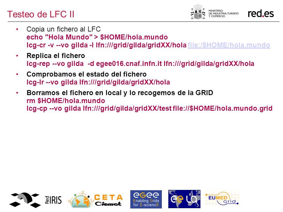 Testeo de LFC II Copia un fichero al LFC echo Hola Mundo > $HOME/hola.mundo lcg-cr -v --vo gilda -l lfn:///grid/gilda/gridXX/hola file:/$HOME/hola.mundofile:/$HOME/hola.mundo Replica el fichero lcg-rep --vo gilda -d egee016.cnaf.infn.it lfn:///grid/gilda/gridXX/hola Comprobamos el estado del fichero lcg-lr --vo gilda lfn:///grid/gilda/gridXX/hola Borramos el fichero en local y lo recogemos de la GRID rm $HOME/hola.mundo lcg-cp --vo gilda lfn:///grid/gilda/gridXX/test file://$HOME/hola.mundo.grid