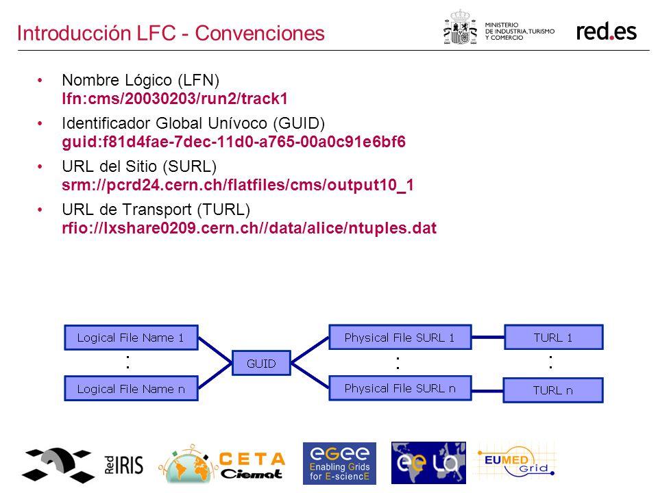 Introducción LFC - Convenciones Nombre Lógico (LFN) lfn:cms/20030203/run2/track1 Identificador Global Unívoco (GUID) guid:f81d4fae-7dec-11d0-a765-00a0c91e6bf6 URL del Sitio (SURL) srm://pcrd24.cern.ch/flatfiles/cms/output10_1 URL de Transport (TURL) rfio://lxshare0209.cern.ch//data/alice/ntuples.dat