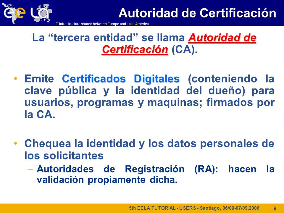 E-infrastructure shared between Europe and Latin America 5th EELA TUTORIAL - USERS - Santiago, 06/09-07/09,2006 20 Delegación = creación remota (segundo nivel) de un certificado proxy.