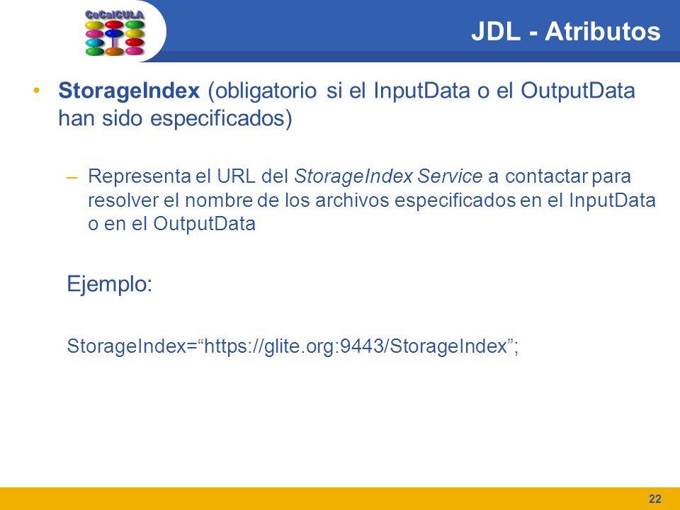 22 JDL - Atributos StorageIndex (obligatorio si el InputData o el OutputData han sido especificados) –Representa el URL del StorageIndex Service a contactar para resolver el nombre de los archivos especificados en el InputData o en el OutputData Ejemplo: StorageIndex=https://glite.org:9443/StorageIndex;