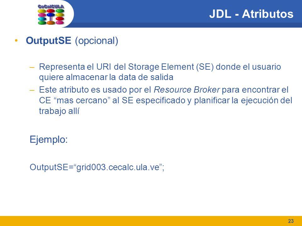 23 JDL - Atributos OutputSE (opcional) –Representa el URI del Storage Element (SE) donde el usuario quiere almacenar la data de salida –Este atributo