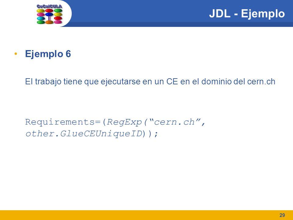 29 JDL - Ejemplo Ejemplo 6 El trabajo tiene que ejecutarse en un CE en el dominio del cern.ch Requirements=(RegExp(cern.ch, other.GlueCEUniqueID));