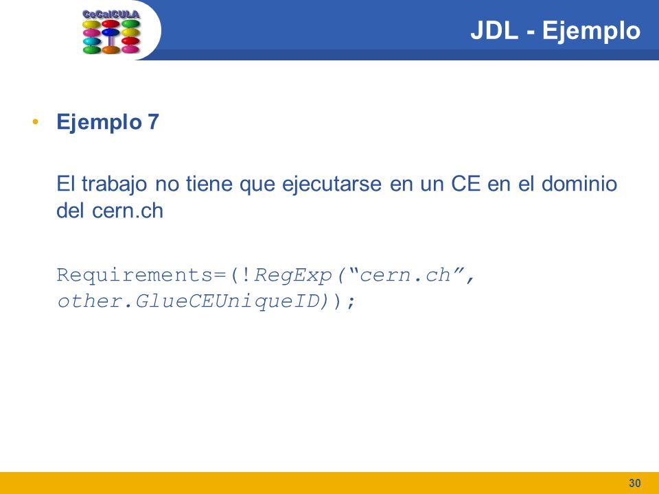 30 JDL - Ejemplo Ejemplo 7 El trabajo no tiene que ejecutarse en un CE en el dominio del cern.ch Requirements=(!RegExp(cern.ch, other.GlueCEUniqueID))