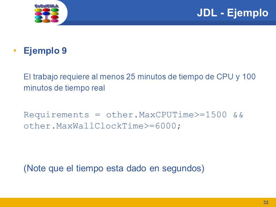 32 JDL - Ejemplo Ejemplo 9 El trabajo requiere al menos 25 minutos de tiempo de CPU y 100 minutos de tiempo real Requirements = other.MaxCPUTime>=1500 && other.MaxWallClockTime>=6000; (Note que el tiempo esta dado en segundos)