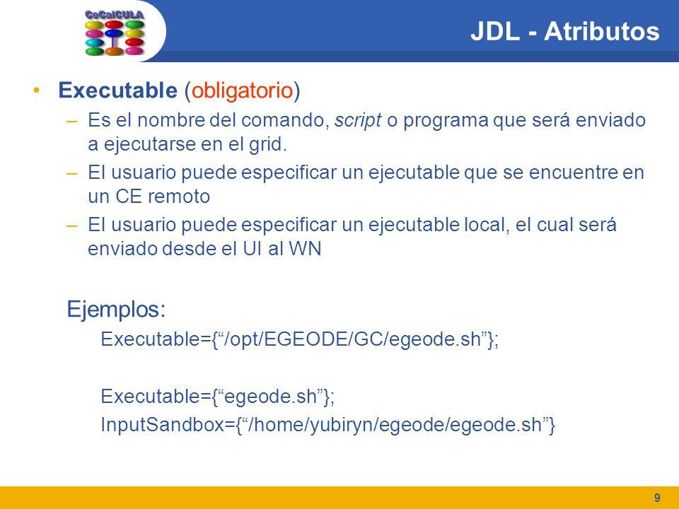 9 JDL - Atributos Executable (obligatorio) –Es el nombre del comando, script o programa que será enviado a ejecutarse en el grid. –El usuario puede es