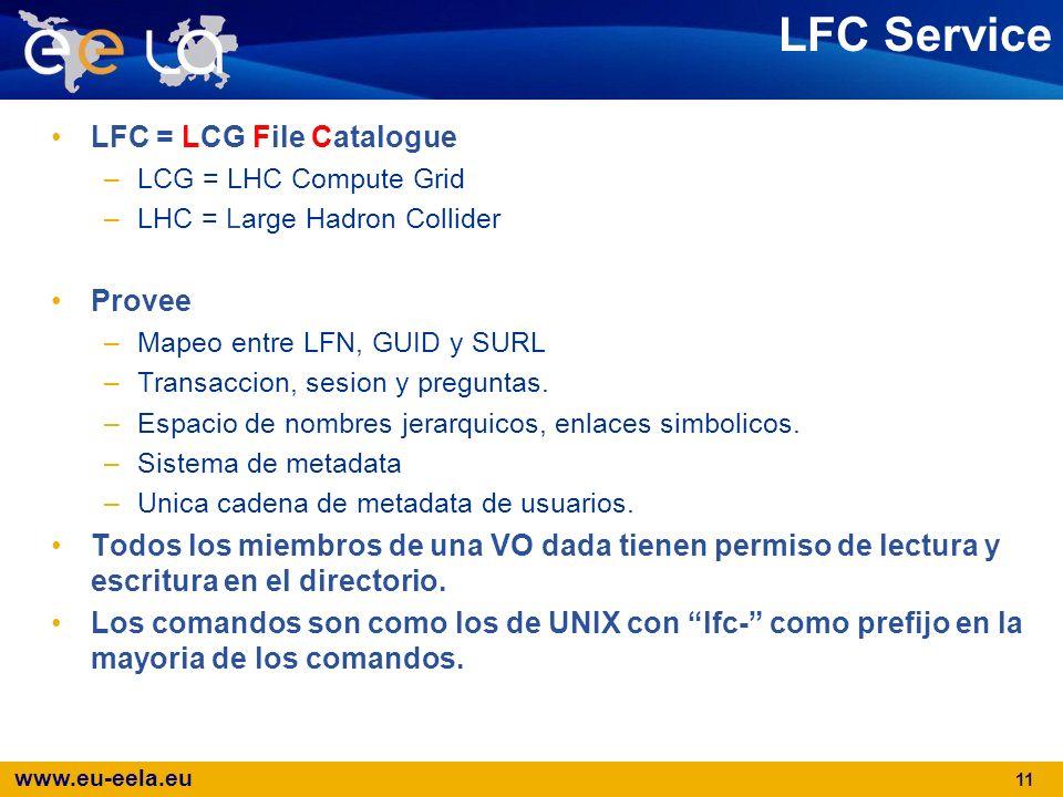 www.eu-eela.eu 11 LFC Service LFC = LCG File Catalogue –LCG = LHC Compute Grid –LHC = Large Hadron Collider Provee –Mapeo entre LFN, GUID y SURL –Tran