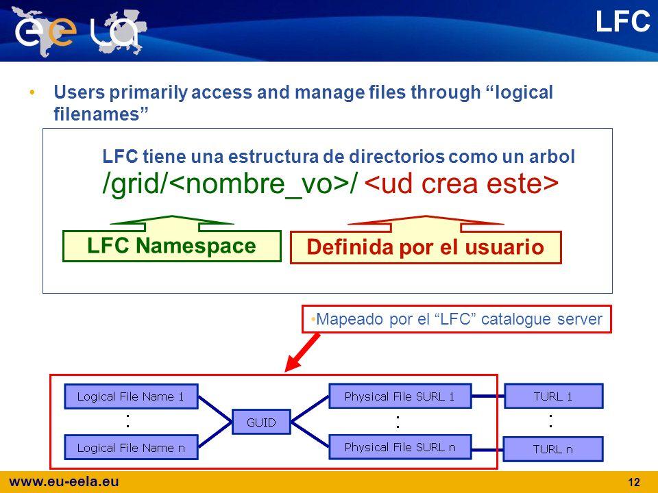 www.eu-eela.eu 12 LFC Users primarily access and manage files through logical filenames Mapeado por el LFC catalogue server Definida por el usuario LF