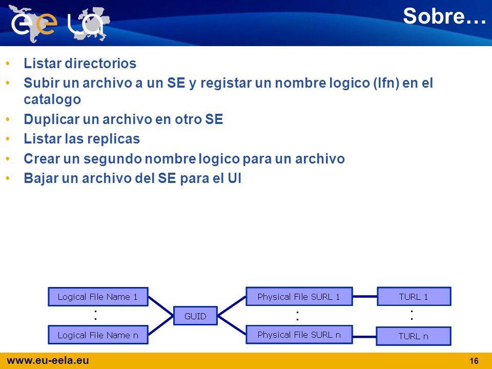 www.eu-eela.eu 16 Sobre… Listar directorios Subir un archivo a un SE y registar un nombre logico (lfn) en el catalogo Duplicar un archivo en otro SE L