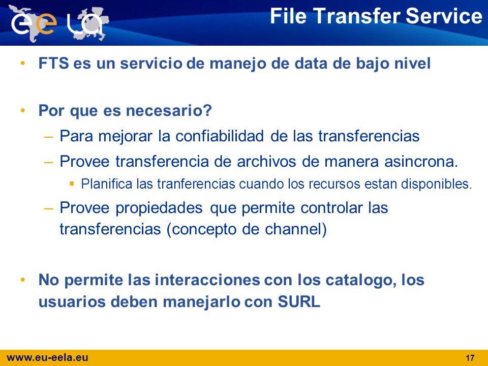 www.eu-eela.eu 17 File Transfer Service FTS es un servicio de manejo de data de bajo nivel Por que es necesario? –Para mejorar la confiabilidad de las