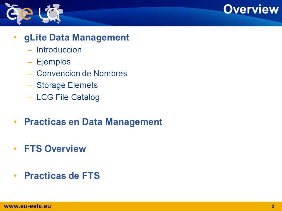 www.eu-eela.eu 2 Overview gLite Data Management –Introduccion –Ejemplos –Convencion de Nombres –Storage Elemets –LCG File Catalog Practicas en Data Ma