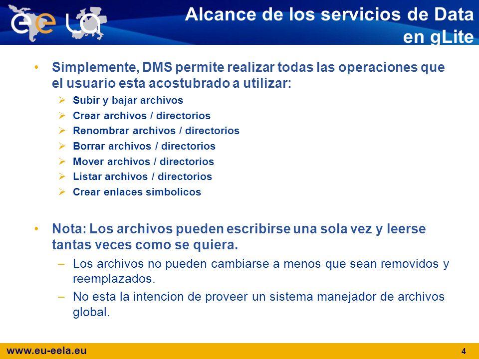 www.eu-eela.eu 4 Alcance de los servicios de Data en gLite Simplemente, DMS permite realizar todas las operaciones que el usuario esta acostubrado a u