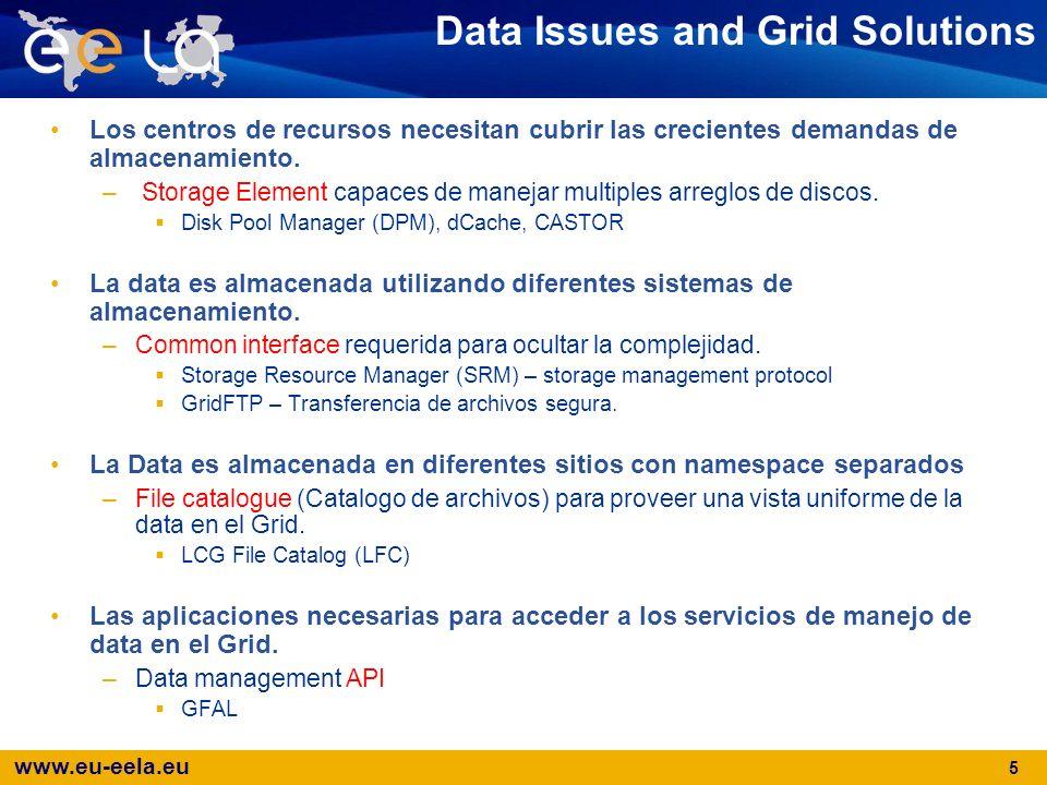 www.eu-eela.eu 6 Data management exampleResourceBrokerStorageElementComputingElement DataSets info Input sandbox Input sandbox + Broker Info Output sandbox User interface LCG FileCatalogue (LFC) StorageElement Archivo replicado en 2 SEs
