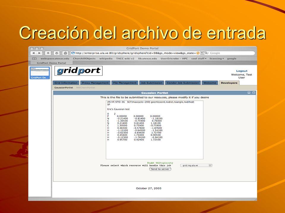 Creación del archivo de entrada
