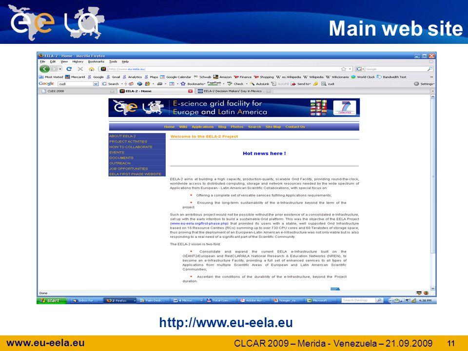 www.eu-eela.eu Main web site http://www.eu-eela.eu 11 CLCAR 2009 – Merida - Venezuela – 21.09.2009