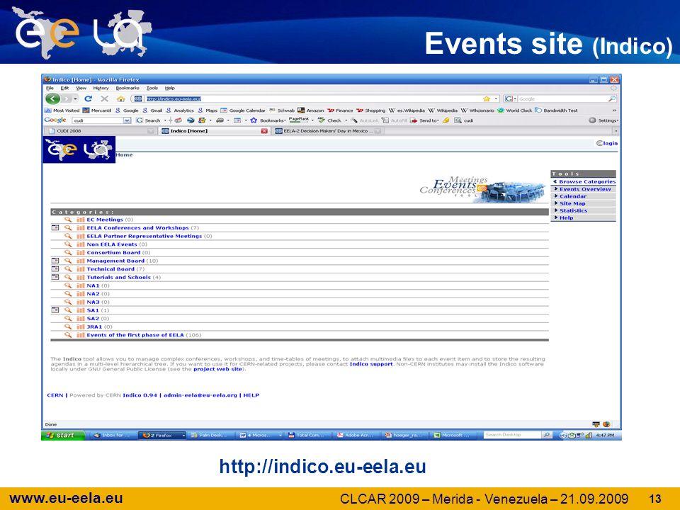 www.eu-eela.eu Events site (Indico) http://indico.eu-eela.eu 13 CLCAR 2009 – Merida - Venezuela – 21.09.2009