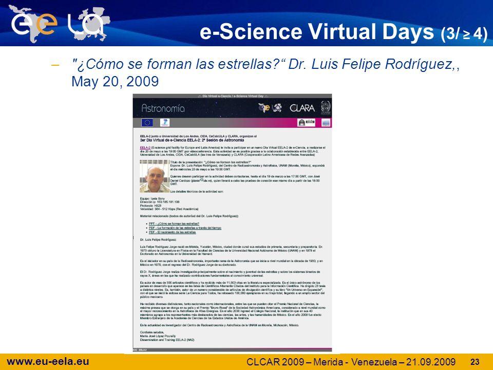 www.eu-eela.eu e-Science Virtual Days (3/ 4) – ¿Cómo se forman las estrellas.